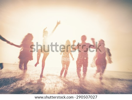 Friendship Freedom Beach Summer Holiday Concept - stock photo