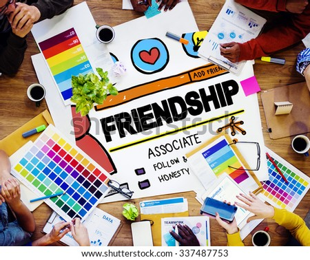 Friendship Group People Social Media Loyalty Concept - stock photo