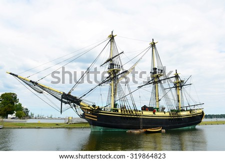 Friendship of Salem at the Salem Maritime National Historic Site (NHS) in Salem, Massachusetts, USA. This ship is a full scale replica of the East Indiaman Friendship served between 1797 - 1812. - stock photo
