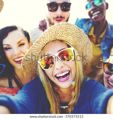 Friendship Selfie Relaxation Summer Beach Happiness Concept - stock photo