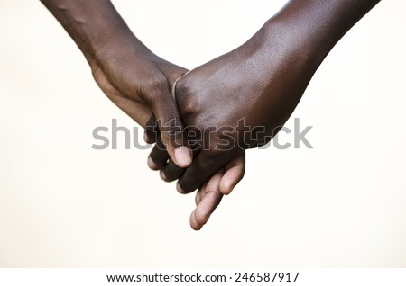 Friendship Symbol: Black People Holding Hands Together - stock photo