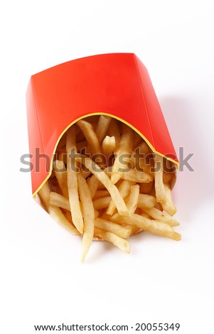 Fries in Cardboard Fast Unhealthy Food on White Background - stock photo