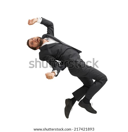 frightened businessman falling down and screaming. isolated on white background - stock photo