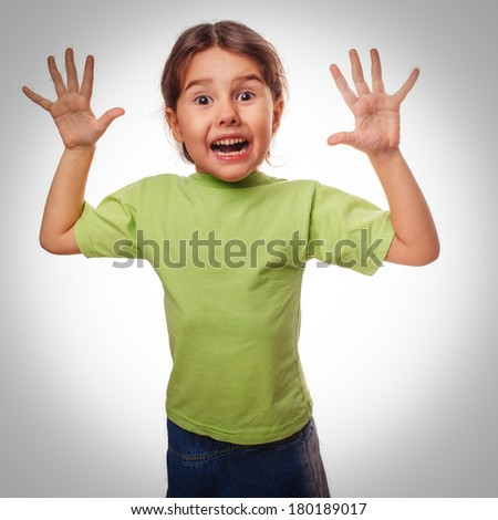 frightened little girl child experiences terror locked hands surprised isolated on white background large gray - stock photo