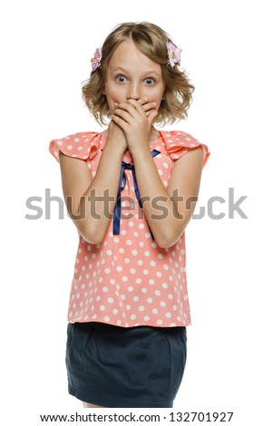 Frightened little girl standing with hands over mouth, over white background - stock photo