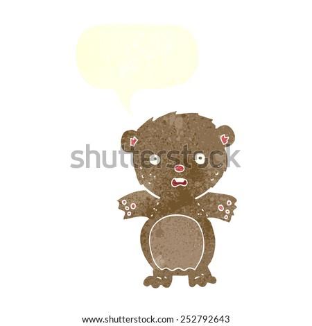 frightened teddy bear cartoon with speech bubble - stock photo