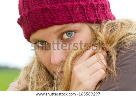 Frightened young woman  - stock photo