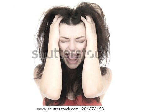 Frightened Young Woman Screaming - stock photo