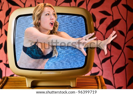 Frightening Movie, conceptual image. - stock photo