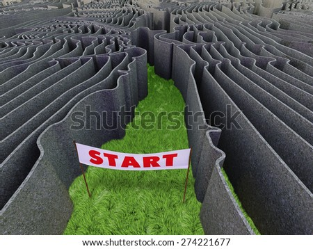 Frightful maze with walls shaped as isolines - stock photo
