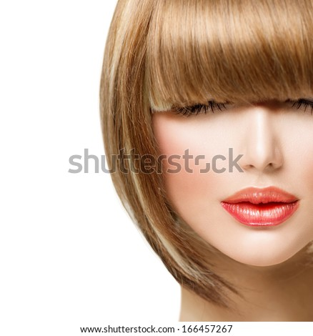 Fringe Hairstyle. Beauty Girl with short Hair.  - stock photo