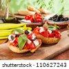 frisella tomato and cheese Feta - stock photo