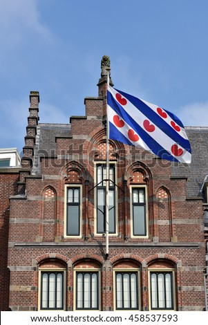 Frisian Flag at the former Post Office in Leeuwarden, Capital of province Friesland in The Netherlands. - stock photo