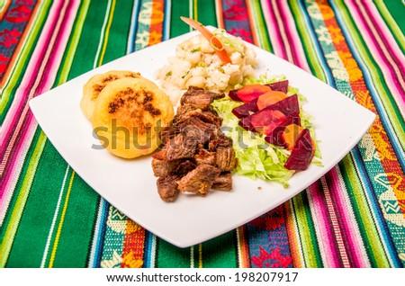 fritada traditional cuisine, Ecuador - stock photo