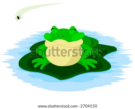 Frog and Fly - stock photo