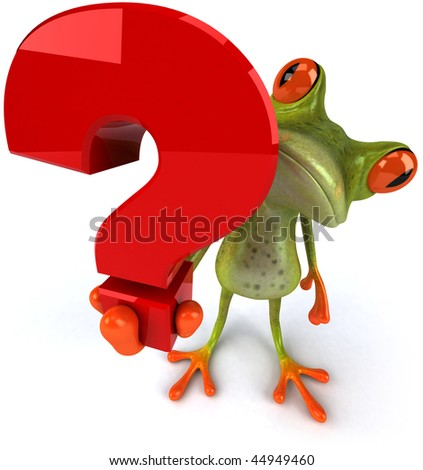 Frog and question - stock photo