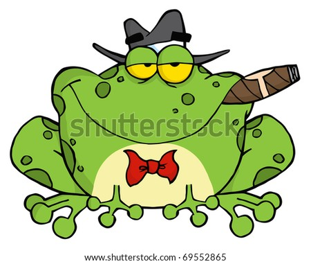 Frog Cartoon Mobster With A Hat And Cigar - stock photo