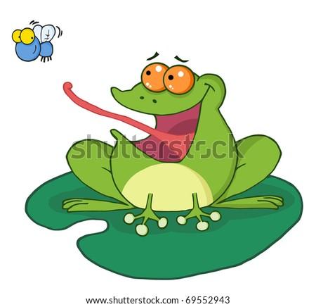Frog Catching Bug - stock photo