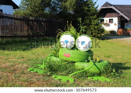 Frog from tires - stock photo