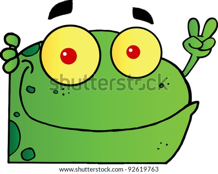 Frog Gesturing The Peace Sign With His Hand - stock photo