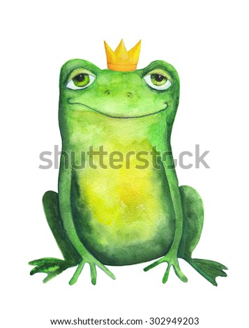 Frog in crown. Watercolor illustration. Hand drawing - stock photo