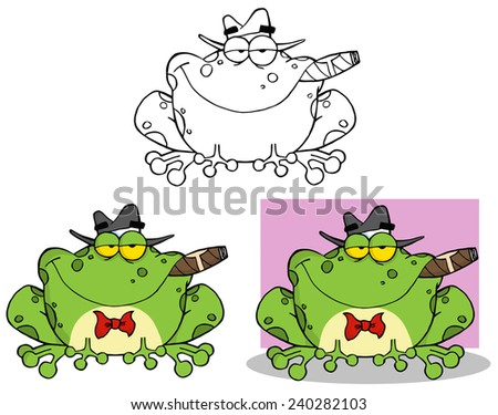Frog Mobster With A Hat And Cigar. Raster Collection Set - stock photo