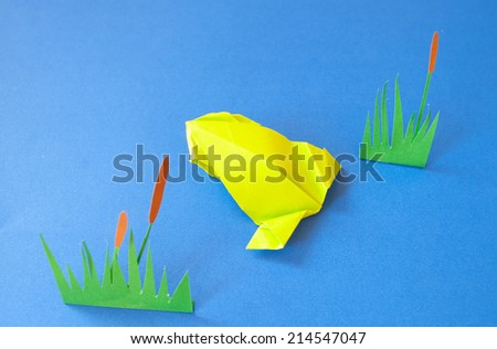 Frog paper on a blue background  - stock photo