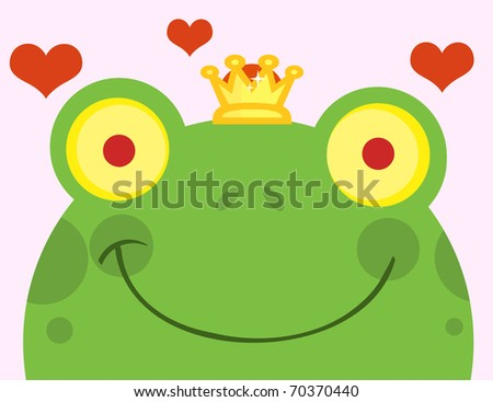 Frog Prince With Hearts - stock photo