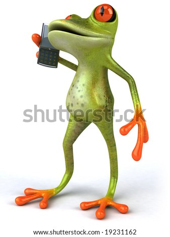 Frog with a mobile phone - stock photo