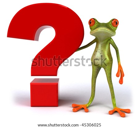 Frog with a question - stock photo