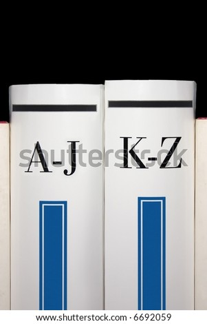From A to Z. Two dictionary books - stock photo