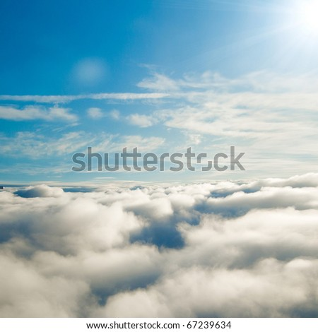 From a Window Sunshine Clouds - stock photo