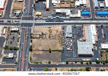 From above the intersection of Country Club Drive and Main Street in downtown Mesa, Arizona viewed from north to south - stock photo