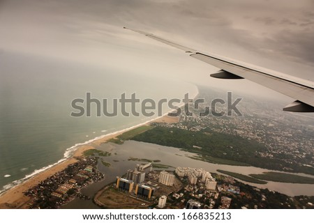 From flight over Chennai, India. Aerial shot from emirates flight  wing. - stock photo