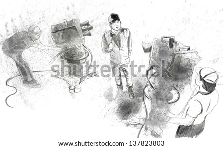 From history to the present - the art of film: Do an interview. /// Full sized hand drawing illustration. - stock photo