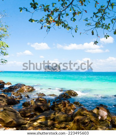 From Inside Exotic Beach  - stock photo