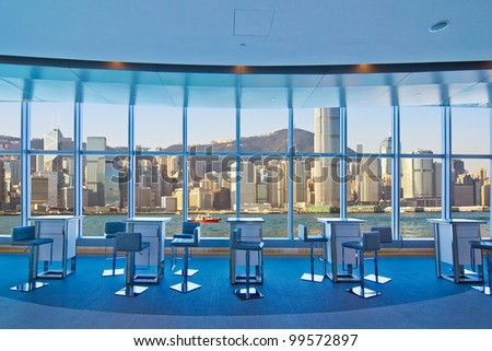 From look to the city office building in hongkong - stock photo