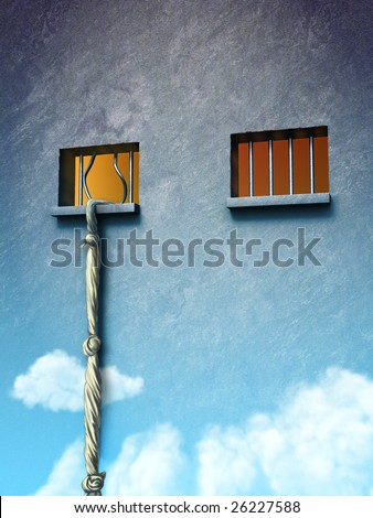 From prison to freedom. Original digital illustration. - stock photo