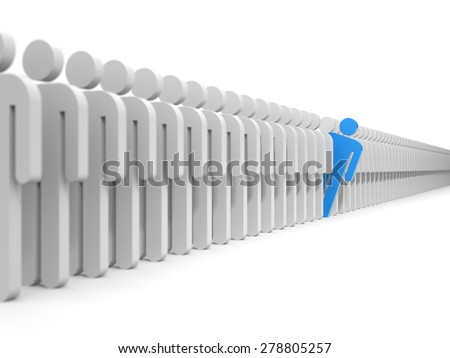 From the large crowd of grey people emerged painted in red color - stock photo