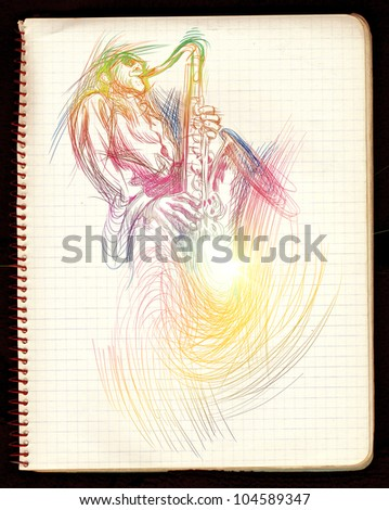 From the series of jazz musicians - sax player. Hand drawing. - stock photo