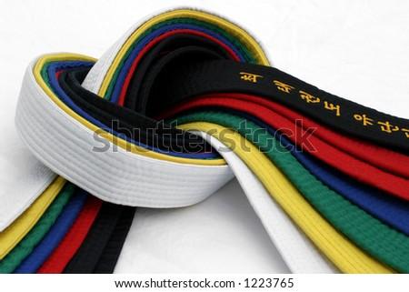 From White Belt to Black belt - stock photo