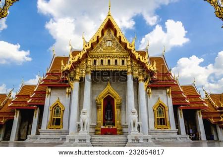 Front amazing Marble Temple, Wat Benchamabopitr Dusitvanaram, Bangkok, Thailand - stock photo