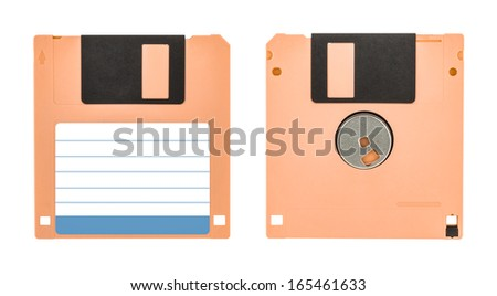Front and back of a cream floppy disk floppy disk isolated on white background - stock photo