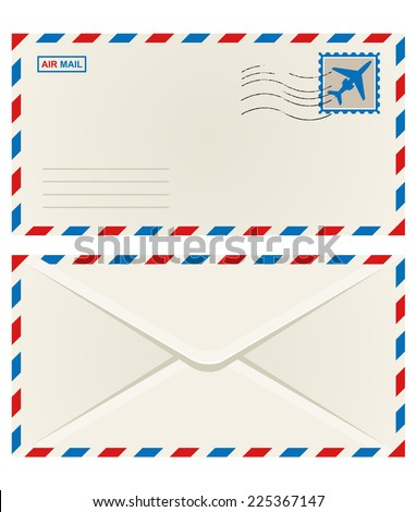 Front and back of an unaddressed airmail envelope with an airplane postage stamp and postage cancellation - stock photo