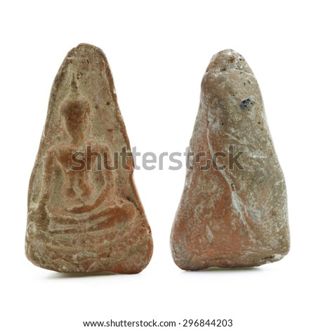 front and back of small buddha image used as amulets on white background - stock photo