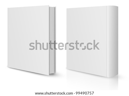 front and back view of Blank book cover white. - stock photo