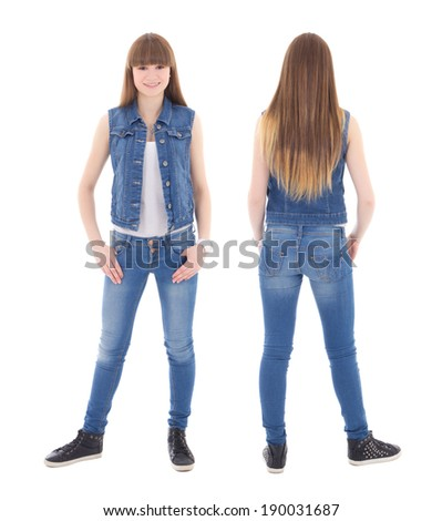 front and back view of cute teenage girl in jeans clothes isolated on white background - stock photo