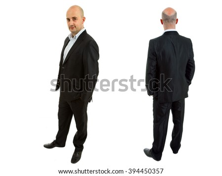 front and back view of young business man isolated on white background - stock photo