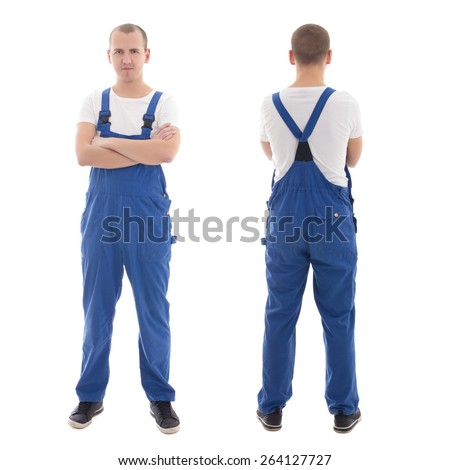 front and back view of young handsome man in blue workwear isolated on white background - stock photo