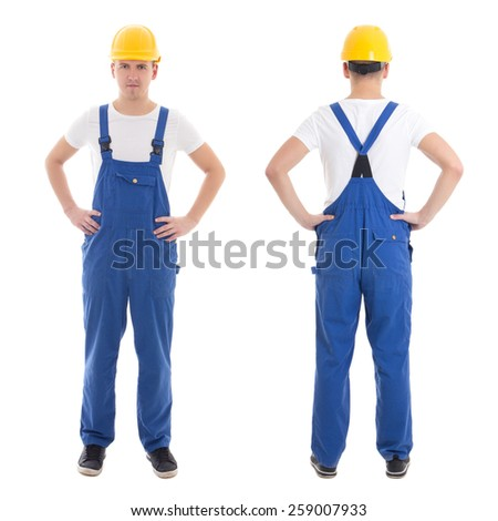 front and back view of young man in blue builder uniform isolated on white background - stock photo